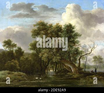 Jacob van Ruisdael – private collection.  Title: A Woodland Pool. Date: 1660s. Materials: oil on canvas. Dimensions: 47 x 56.3 cm. Inscriptions: J Ruysdael 166[?] (lower left). Auctioned by Chrisie's, in London, on December 6, 2018. Source: https://www.christies.com/img/LotImages/2018/CKS/2018_CKS_15496_0017_000(jacob_isaacksz_van_ruisdael_a_woodland_pool).jpg. I have changed the light and contrast of the original photo. - Stock Photo