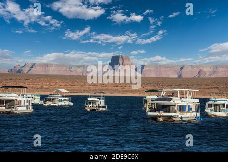 View of Lake Powell with  at Glen Canyon National Recreation Area in northern Arizona.