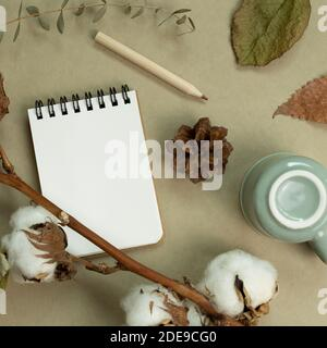 Winter and autumn concept. Notebook, mug cup, colored pencil, cotton plant, dry leaves on khaki green background. flat lay, top view, copy space - Stock Photo