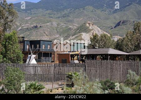 View of Fort Apache at Mini Hollywood with mountains to the rear, Tabernas, Almeria Province, Andalucia, Spain, Europe