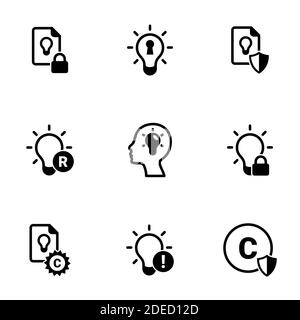 Set of simple icons on a theme Intellectual property, vector, design, collection, flat, sign, symbol,element, object, illustration, isolated. White ba