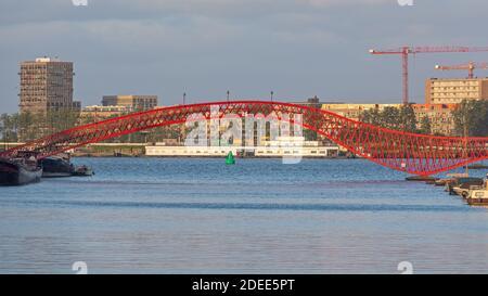 Red Python Bridge in Amsterdam Netherlands Stock Photo