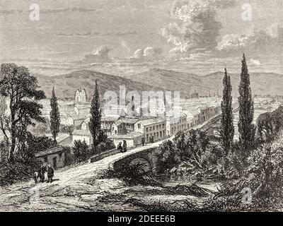 View of Popayan, Colombia. Old 19th century engraved illustration. Travel to New Granada by Charles Saffray from El Mundo en La Mano 1879 - Stock Photo