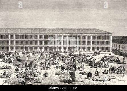 City Hall in Bogota, Colombia. Old 19th century engraved illustration. Travel to New Granada by Charles Saffray from El Mundo en La Mano 1879