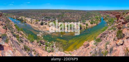 Murchison river passing through Kalbarri national park in Australia around hawks head lookout Stock Photo