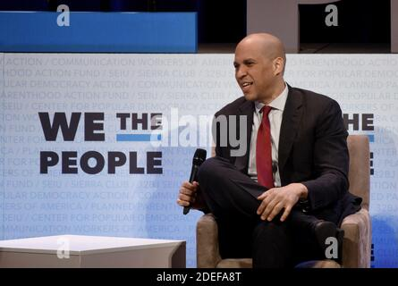 2020 Democratic presidential candidate Cory Booker speaks at the '2019 We The People Membership Forum' April 1, 2019 in Washington, DC. . Photo by Olivier Douliery/ABACAPRESS.COM