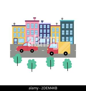Street background with city buildings, cars and trees. Cute town concept - Stock Photo