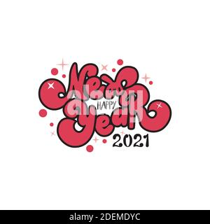 new year 2021 holiday lettering happy - Stock Photo