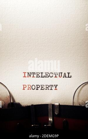 Intellectual property phrase written with a typewriter.