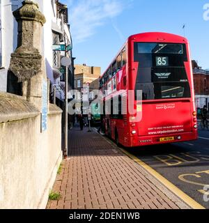 London UK, December 01 2020, Red Transport For London Double Decker Public Passenger Bus Stock Photo