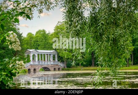 St. Petersburg, Pushkin, Russia. August 22, 2020. Historical architectural wonderful building made of marble material in Catherine Park. Horizontal or