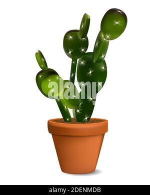 Cactus in Flowerpot. Isolated Illustration