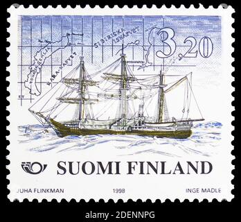 MOSCOW, RUSSIA - JUNE 28, 2020: Postage stamp printed in Finland shows Expedition ship 'Vega' (1878) for Polar exploration, Norden 1998 - Shipping ser