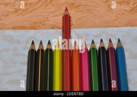 Winner, success, leadership or competition metaphor with colorful pencils