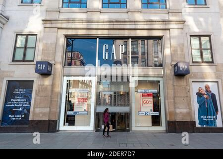 01 December 2020. London, United Kingdom. The Gap clothes store in Oxford Circus in Oxford Street is set to close. In October 2020, the clothing retail company had considered closing all of the European stores and its UK-based European distribution centre due the a downturn in sales and profits. The current Covid-19 lockdown restrictions have had an effect on the retail stores. Photo by Ray Tang/Ray Tang Media Stock Photo