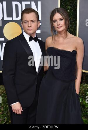 Taron Egerton and Emily Thomas attending the 77th Golden Globe Awards Arrivals at The Beverly Hilton, Los Angeles, CA, USA on January 5, 2020. Photo by Lionel Hahn/ABACAPRESS.COM