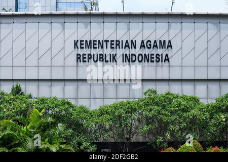 Jakarta, Indonesia - 25 October 2020. Ministry of Religion building of the Republic of Indonesia which is located on Jalan Sudirman, Jakarta - Stock Photo