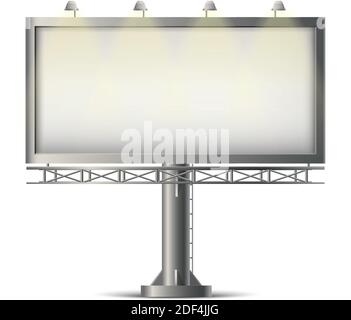 realistic blank banner on the road for advertisement. Stock Photo