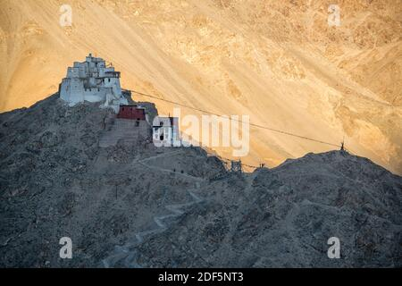 Last light over Namgyal Tsemo Gompa. Leh, Ladakh, India Stock Photo