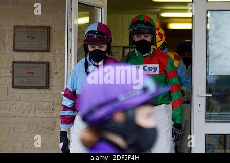 A general view as the jockeys leave the weighing room at Wincanton Racecourse, Wincanton.