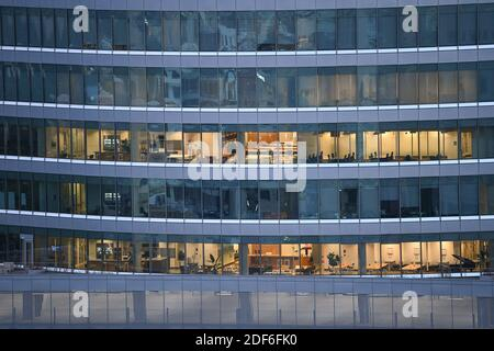 August 15, 2020 Austin, Texas: Views of the SXSW Center during an early morning sunrise, looking north from the Westgate Building in downtown Austin.  © Bob Daemmrich