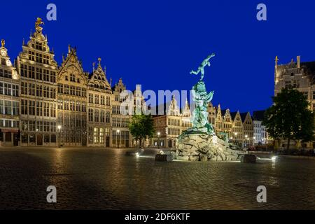 Brabo fountain at the Grote Markt square in Antwerp - Stock Photo