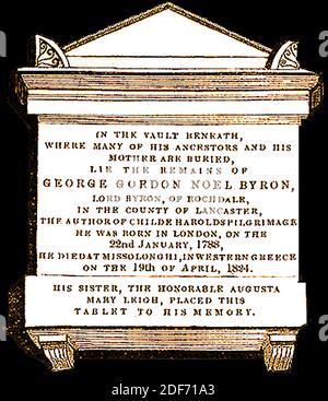 Memorial tablet above the grave of Lord Byron (George Gordon Noel Byron - Lord Byron of Rochdale ) , Peer, poet and politician , at St Mary Magdalene church Hucknall, Nottinghamshire, England in 1842. He added the name Noel to his own   so as to inherit half of the  estate of his mother in law Judith Noel, the Honorable  Lady Milbanke - Stock Photo
