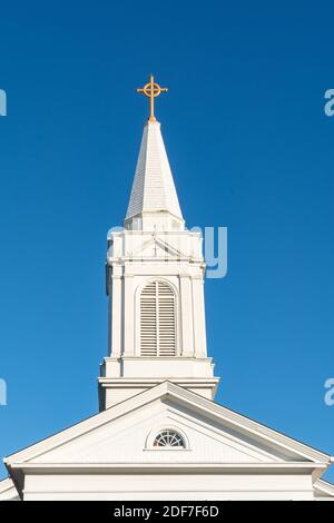 Old church and spire in Geneseo, Henry county, Illinois.