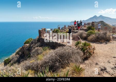 Mediterranean sea from Amatista viewpoint in Cabo de Gata nature reserve Almeria Andalusia Spain.