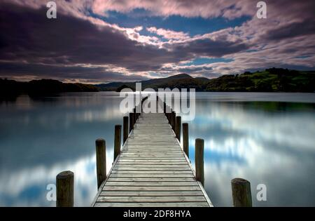 Parkamoor Jetty on Coniston Water,  Lake District, Cumbria, England, Uk, Gb.