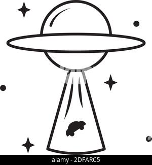 icon of flying Saucer abducting a car over white background, line style, vector illustration