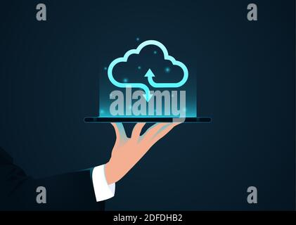 Vector of a businessman holding a tablet computer with cloud icon above - Stock Photo