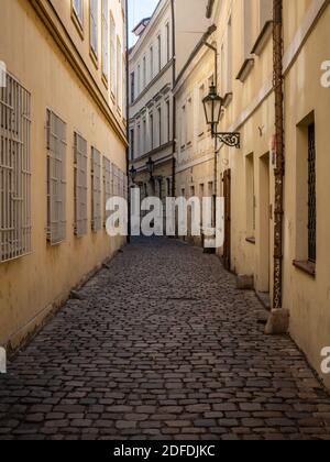 Cobbled back street; Old Town, Prague, Czech Republic. Typical architecture in a side street in the Old Town district of the Czech capital city.