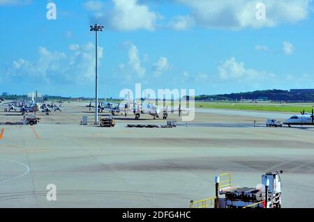 JSDF Airport Stands, Kawazaki P3 Maritime Surveilance and Rescue, Stands, Naha AFB, Okinawa, Ryukyu Islands, Japan