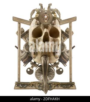 Isolated detailed copper skull composition with antique etched elements, border & jewelry on white background.