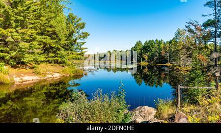 Hawk Lake Log Chute Algonquin Highlands Haliburton County Ontario Canada in summer