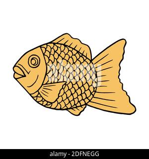 Vector hand drawn doodle taiyaki. Japanese fish-shaped cake. Design sketch element for menu cafe, restaurant, label and packaging. Colorful illustrati