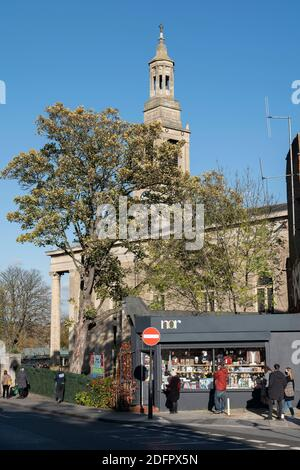 Nor gift shop and St Luke's Church on Knights Hill on the 4th November 2020 in West Norwood in London in the United Kingdom. Photo by Sam Mellish - Stock Photo