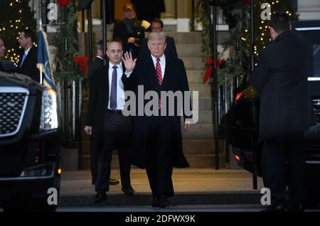 President Donald Trump walks outside of Blair House after paying a condolence visit to the Bush family who are in Washington for former President George H.W. Bush's state funeral and related honors, December 04, 2018 in Washington, DC. Photo by Olivier Douliery/ABACAPRESS.COM
