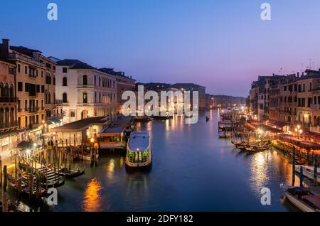 Venice - Italy , May 2020 Panoramic view of Grand canal from Rialto Bridge during sunset.(Ponte di Rialto)
