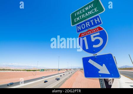 View of sign and highway 15 near Las Vegas, Nevada, United States of America, North America