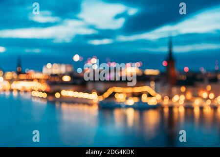 Stockholm, Sweden. Night Skyline Abstract Boke Bokeh Background. Design Backdrop. Panorama Panoramic View
