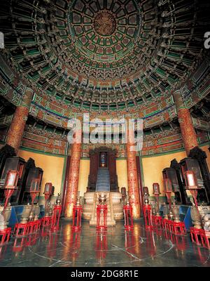 The temple of heaven QiNianDian interior Stock Photo