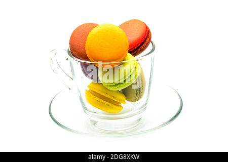 Colorful macarons in a glass