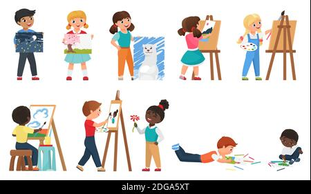 Kids painting vector illustration set. Cartoon young artist characters drawing art work with painting tools, preschool or school children standing in front of easel, childhood hobby isolated on white - Stock Photo