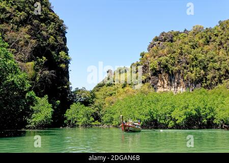 Cruising in the lagoon of Koh Hong in the Andaman Sea and Tharn Bok Khorani Park in Krabi Province - Thailand - January 28, 2020 - Stock Photo