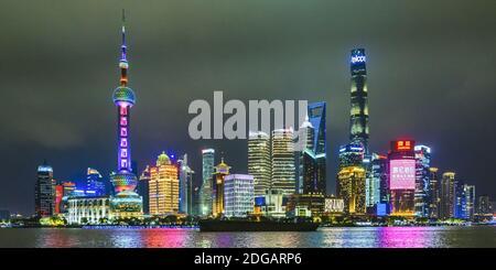 Pudong District Night Scene, Shanghai, China