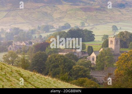 High angle view of a village, Burnsall, Yorkshire Dales National Park, North Yorkshire, England