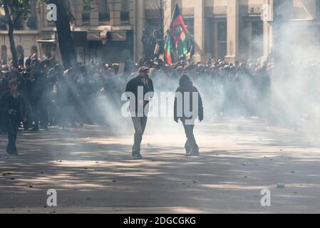 During the traditional Parisian parade for the Labor Day, which took place between the Place de la Republique and Place de la Nation, a procession of several hundred hooded people clashed with the police. Clashes erupted throughout the course, causing numerous injuries to police officers as protesters. Paris, France, on May the 1st, 2017. Photo by Samuel Boivin / ABACAPRESS.COM Stock Photo