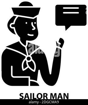 sailor man icon, black vector sign with editable strokes, concept illustration